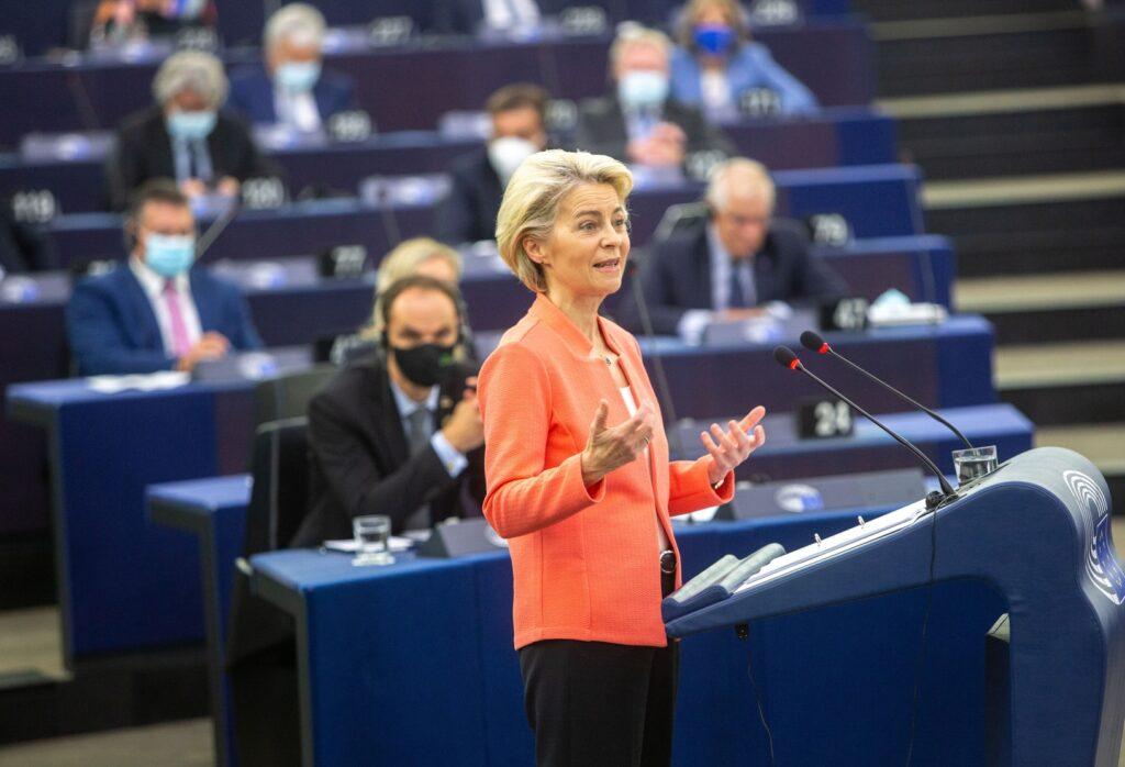 Kommissionspräsidentin Ursula von der Leyen bei ihrer Rede zur Lage der Union 2021 im Europäischen Parlament